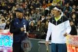 1月2日放送、『とんねるずのスポーツ王は俺だ!!』テニス対決(C)テレビ朝日