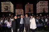 映画『人生の約束』の凱旋イベントに出席した(左から)石橋冠監督、竹野内豊、江口洋介、高橋ひかる