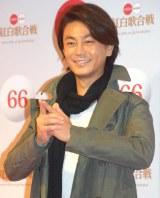 """笑顔で""""五郎丸ポーズ""""をした氷川きよし (C)ORICON NewS inc."""