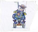 ボブ・ポーリー【ウッディとバズ】『トイ・ストーリー』(1995 年)複製(マーカー、鉛筆/紙)(C) Disney/Pixar