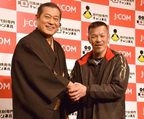 初対面を果たした(左から)松平健、辰吉丈一郎=『J:COM「時代劇専門チャンネル」「日本映画専門チャンネル」』共同記者会見 (C)ORICON NewS inc.