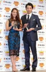 『キンカン AWARD 2014』授賞式に出席した(左から)田中理恵、入江陵介 (C)ORICON NewS inc.