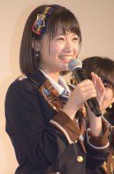映画『尾崎支配人が泣いた夜 DOCUMENTARY of HKT48』初日舞台あいさつに登壇した朝長美桜 (C)ORICON NewS inc.