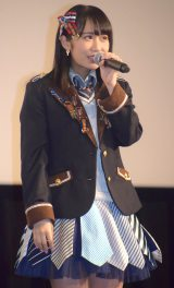 映画『尾崎支配人が泣いた夜 DOCUMENTARY of HKT48』初日舞台あいさつに登壇した上野遥 (C)ORICON NewS inc.