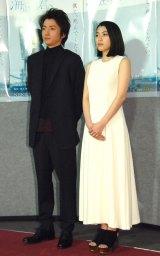NHK特集ドラマ『海底の君へ』試写会に出席した(左から)藤原竜也、成海璃子 (C)ORICON NewS inc.