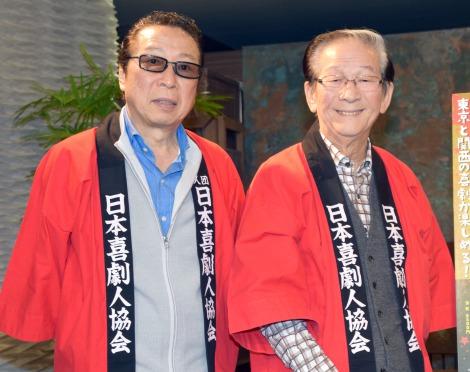 舞台『蝶子と吉治郎の家』『春の祭典』の囲み会見に出席した(左から)石倉三郎、小松政夫 (C)ORICON NewS inc.