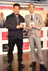 木山裕策(右)カバーアルバム『F 守りたい君へ』ジャケット写真が佐々木健介(左)と長男・健之介くんの2ショットを起用した (C)ORICON NewS inc.