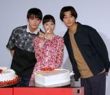 映画『ちはやふる』ホワイトデーイベントに出席した(左から)真剣佑、広瀬すず、野村周平 (C)ORICON NewS inc.