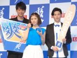 『爽』の新CMキャラクターに起用された(左から)竹内涼真、松岡茉優、柾木玲弥 (C)ORICON NewS inc.