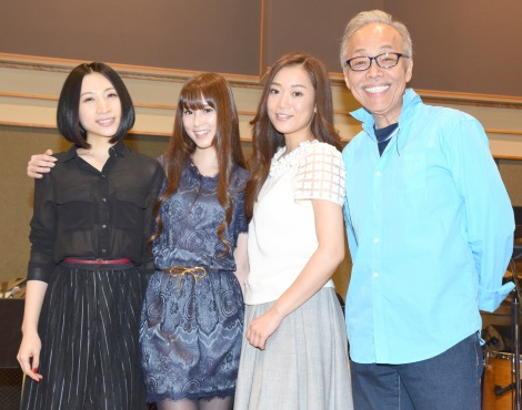 『谷村新司リサイタル2016 THE SINGER』公演の公開リハーサルを実施し(左から)KalafinaのHikaru、Keiko、Wakana、谷村新司 (C)ORICON NewS inc.