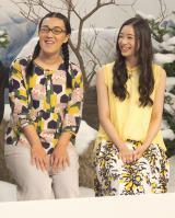 NHKで『七人のコント侍』の第13期メンバー披露会見に出席した(左から)白鳥久美子(たんぽぽ)、足立梨花 (C)ORICON NewS inc.
