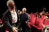 スタジオジブリ新作『レッドタートル ある島の物語』第69回カンヌ国際映画祭で上映。観客の拍手にホッとした様子のマイケル・デュドク・ドゥ・ヴィット監督(左)と鈴木敏夫プロデューサー(中央)