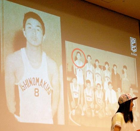 約50年前にバスケをしていた当時中村雅俊。ピチピチなユニフォーム姿を見て「恥ずかしい」=男子バスケットボール『B.LEAGUE』開幕日・対戦カード発表会見 (C)ORICON NewS inc.