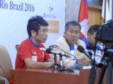 『2016リオ・オリンピック・カンボジア代表記者会見』に出席した猫ひろし