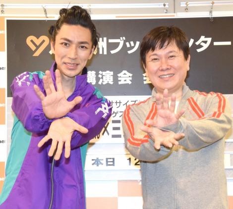 DVD『Let's アニソン・エクササイズ』発売記念イベントに出席した(左から)TAKAHIRO、声優の三ツ矢雄二 (C)ORICON NewS inc.