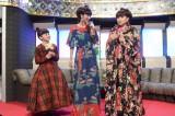 NHKのドラマ『トットてれび』最終回(6月18日放送)で『ザ・ベストテン』を再現。(左から)7歳の徹子を演じた藤澤遙、満島ひかり、黒柳徹子(C)NHK