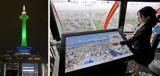展望室に新設したタッチパネル式の観光案内モニター。上空から古都を望みながら、手元で情報を収集できる(京都市下京区・京都タワー)=右。LEDで多彩な色に切り替えられるようになった