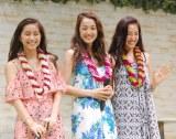 リゾートウェアを着て登場した(左から)大見謝葉月、神田咲実、斎藤夏美=『Hawai'i EXPO 2016』トークショー (C)ORICON NewS inc.