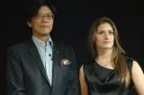 アウディジャパンの発表会に登場した(左から)大喜多寛社長、シンディ・アレマン選手