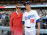 ドジャー・スタジアムで「君が代」を独唱したATSUSHIとドジャースの前田健太投手
