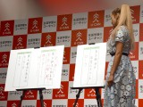ボールペン字のビフォー(左)・アフター(右)=『ユーキャン 2016チャレンジ企画』の成果発表イベント (C)ORICON NewS inc.