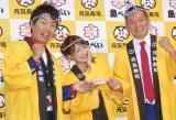 『元気寿司商品開発コンテスト』に出席した(左から)福田薫、矢口真里、益子卓郎 (C)ORICON NewS inc.