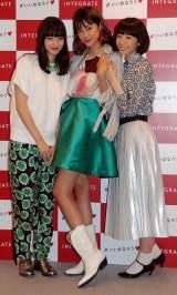 CM衣装で登場した(左から)小松菜奈、森星、夏帆 (C)ORICON NewS inc.