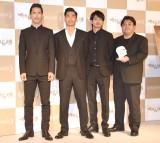 映画『たたら侍』凱旋記者会見に出席した(左から)小林直己、AKIRA、青柳翔、錦織良成氏 (C)ORICON NewS inc.