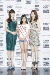 『2017ミス・ティーン・ジャパン』決勝大会に登場した(左から)新川優愛、糸瀬七葉さん、押切もえ