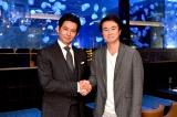 10月16日スタートのTBS系連続ドラマ『IQ246』(毎週日曜 後9:00)に主演する織田裕二と1話メインゲストの石黒賢 (C)TBS