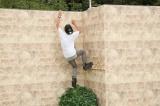 カッコ良い壁の登りに挑戦するADマキノ君 (C)日本テレビ