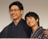 Amazonオリジナルドラマ『福家堂本舗-KYOTO LOVE STORY-』完成披露試写会に出席した(左から)山下健二郎、前田旺志郎 (C)ORICON NewS inc.
