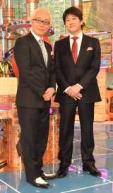 ABC・テレビ朝日系の新番組『人生で大事なことは〇〇から学んだ』囲み取材に応じた(左から)所ジョージ、林修 (C)ORICON NewS inc.