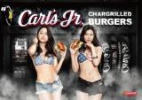 カリフォルニア発プレミアムバーガー「Carl's Jr.」をセクシー衣装でアピールするAKB48(左から)島田晴香、阿部マリア