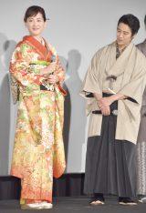 映画『本能寺ホテル』初日舞台あいさつに出席した(左から)綾瀬はるか、堤真一 (C)ORICON NewS inc.