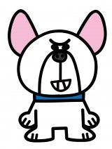 フレンチブルドッグのゆんぼ(CV:飯田里穂)。主にボケを担当するオラオラ系ぶっぷ(C)「ぶっぷな毎日」製作委員会