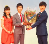NHK・Eテレの子ども番組『おかあさんといっしょ』の会見に出席した(左から)小野あつこ、花田ゆういちろう、横山だいすけ (C)ORICON NewS inc.