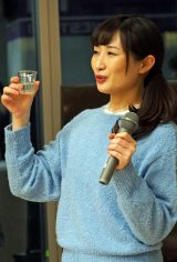 『ワカコ酒 Season3』記者会見で「ぷしゅーー」を見せた武田梨奈 (C)ORICON NewS inc.