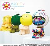 (左から)名和晃平氏、東信氏、オリジナル、村上隆氏が手がけた「ゆず太郎」