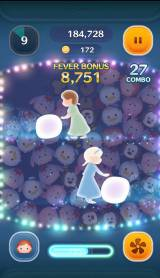 Sexy Zoneの中島健人がCMキャラクターを務めるパズルゲーム『LINE ディズニー ツムツム』のプレイ画面