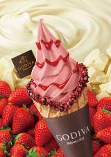 『ゴディバ ソフトクリーム ホワイトチョコレート ストロベリー』