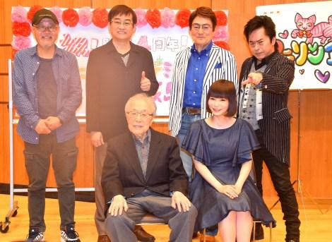 NHK-FM『アニソンアカデミー』取材会に出席した(前列左から)渡辺宙明氏、中川翔子、(後列左から)あべあきら氏、田中公平氏、ささきいさお、水木一郎