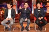 囲み取材に出席した(左から)千原ジュニア、古舘伊知郎、坂上忍 (C)ORICON NewS inc.