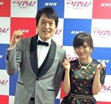 NHK音楽特番『LIVE ザ・リアル!』の囲み取材に参加した千原ジュニア(左)とNMB48の山本彩 (C)ORICON NewS inc.