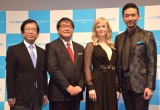 『sodastream cage WORLD tour 2017 in TOKYO』に参加した(左から)武田邦彦氏、カンニング竹山、シャーロット・ケイト・フォックス、岡幸二郎 (C)ORICON NewS inc.
