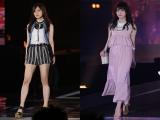 トップバッターを飾った乃木坂46・白石麻衣(左)、『GirlsAward』初出演の欅坂46・渡辺梨加(右)