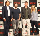 (左から)ジェレミー・クライナー、ミショッド監督、ブラッド・ピット、デデ・ガードナー (C)ORICON NewS inc.