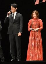 映画『忍びの国』のジャパンプレミアに登場した(左から)鈴木亮平、石原さとみ (C)ORICON NewS inc.