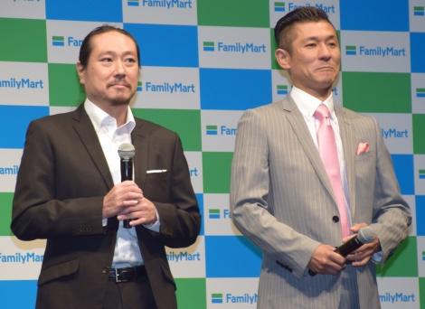 ファミリーマートの新戦略発表会に参加した笑い飯(左から)西田幸治、哲夫 (C)ORICON NewS inc.