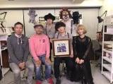 LINE LIVEで主題歌を発表したSEKAI NO OWARIと米林宏昌監督、西村義明プロデューサー(C)2017「メアリと魔女の花」製作委員会